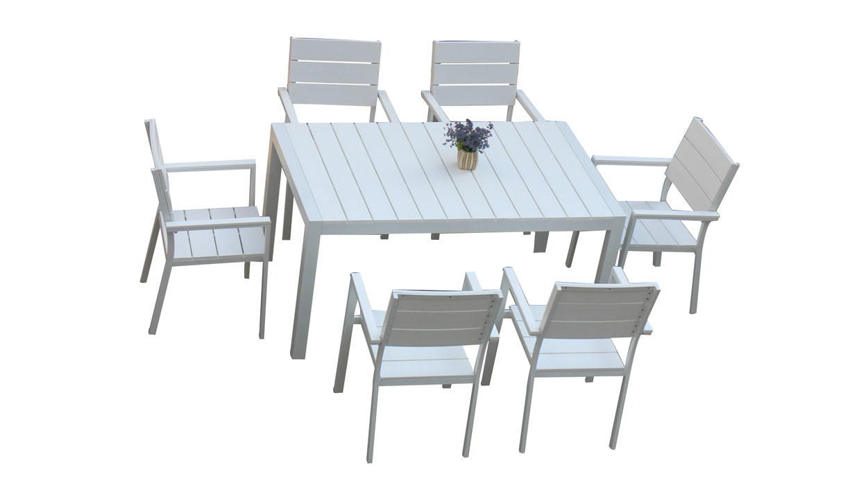 Plastic Wood Patio Rectangle 7pcs Dining Set for Roof