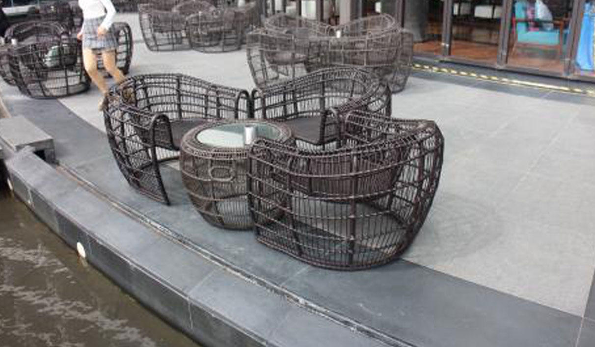 Outdoor PE Rattan Sofa Chair Furniture for Hotel Patio Chatting Seat