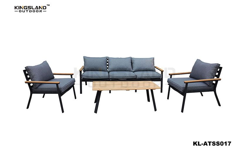 Aluminum frame with Teak lounge set for 5 person, 4pcs set