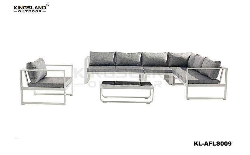 Aluminum frame lounge sectional set for 5 person, 5pcs set