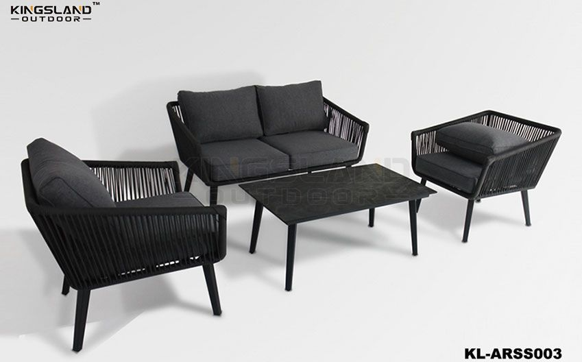 Aluminum frame lounge set with rope weaving for 4 person, 4pcs set