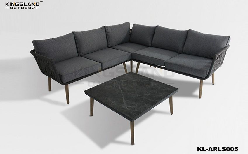 Aluminum frame lounge corner set with rope weaving for 4-5 person