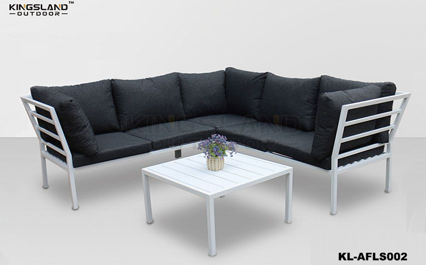 Aluminum frame lounge corner set with for 4-5 person, 4pcs set