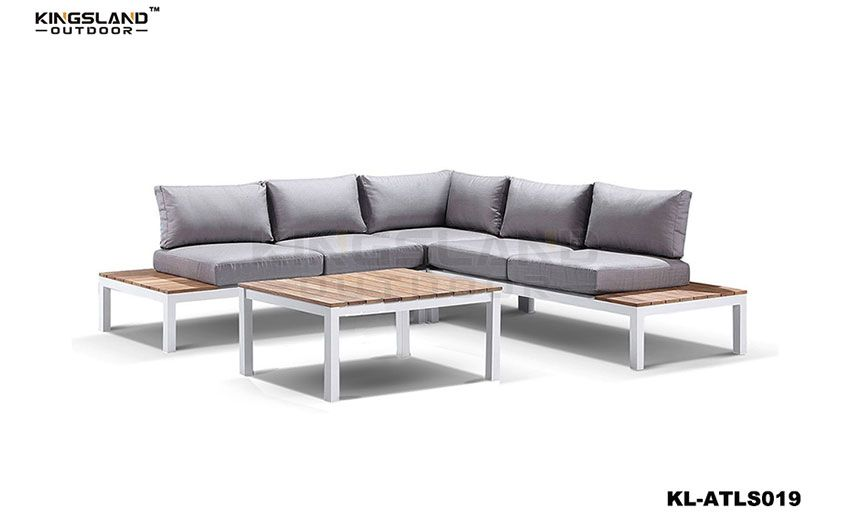 Aluminum frame teak furniture lounge set for 4-5person, 4pcs set