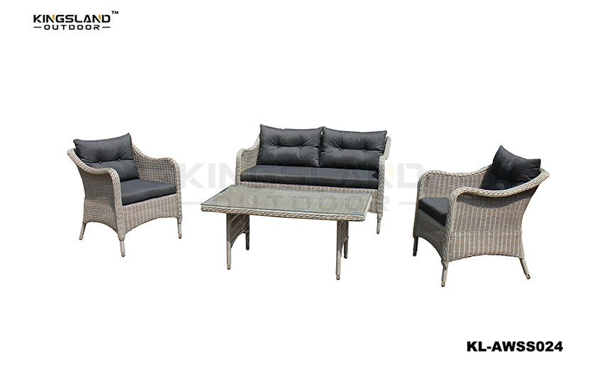 Aluminum frame rattan woven stackable lounge set for 4 pepole