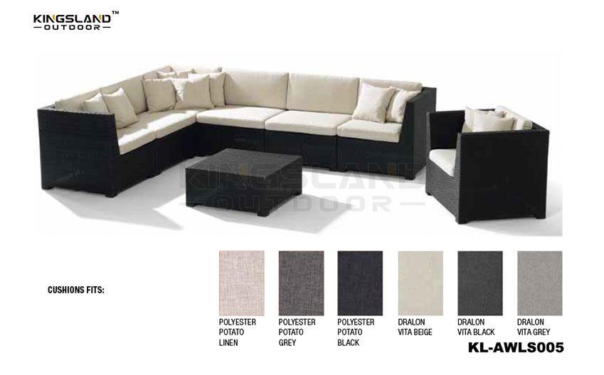 Aluminum frame rattan woven sectional corner lounge set for 7 pepole