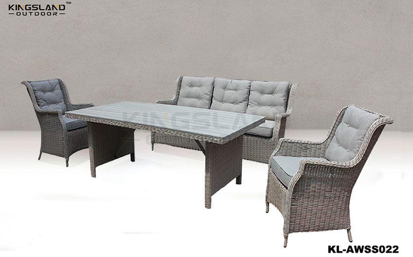 Aluminum frame rattan woven dining lounge set for 5 pepole, 4pcs set