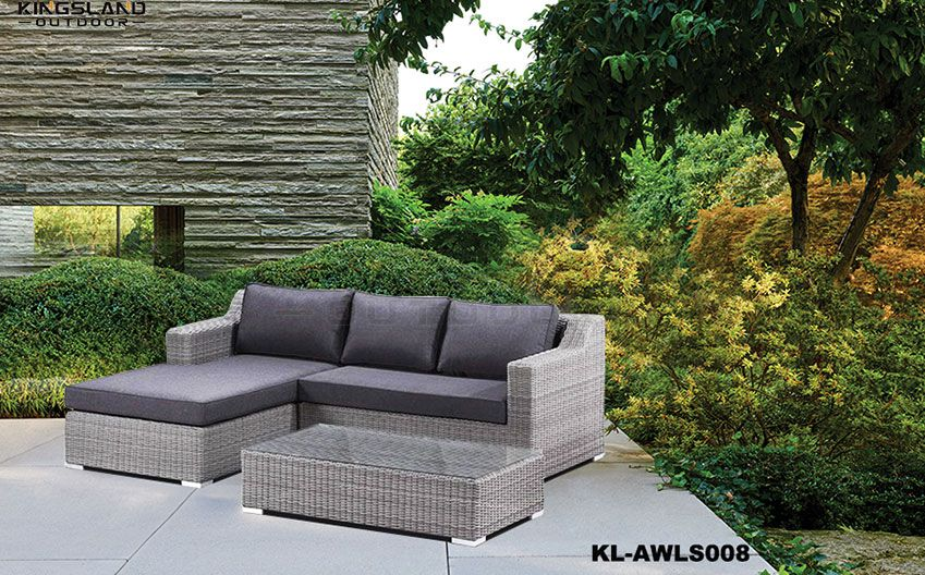 Aluminum frame rattan weave modular lounge set with chaise