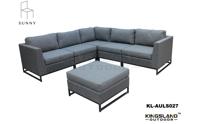 Aluminum frame all weather textiel sectional lounge set for 6 person