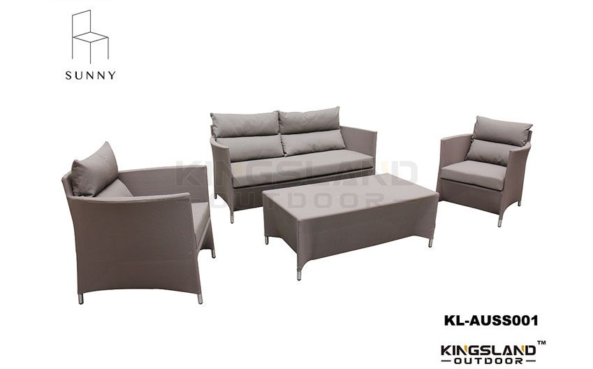 Aluminum frame all weather textiel lounge set with quick dry foam