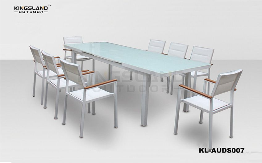 Aluminum extending dining table set with armchairs for 6-8 person