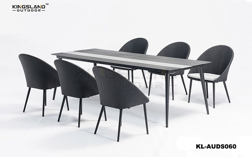 Aluminum Slats Table Top dining set with armchairs for 6 person