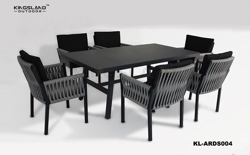 Aluminum furniture dining table set with armchairs for 4-6 person