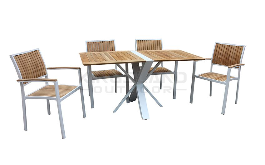 Aluminum frame Teak table top foldable dining table set with chairs