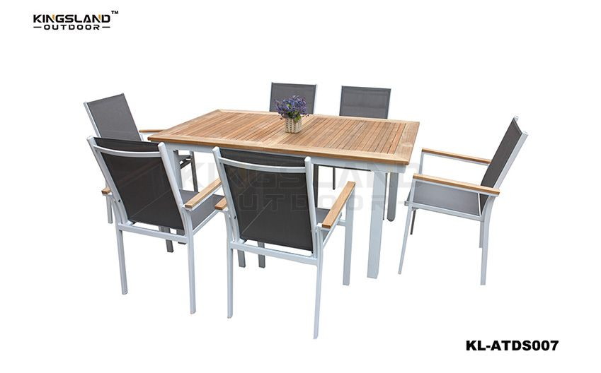 Aluminum frame Teak table top dining set with Texteline chairs