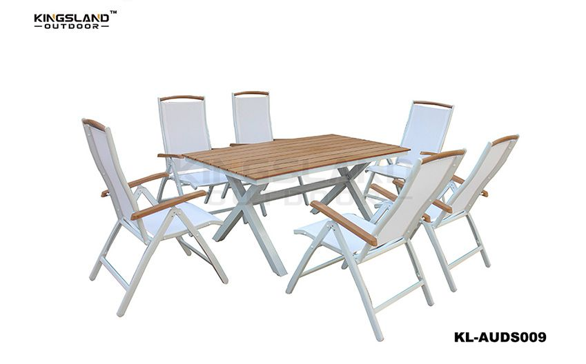 Aluminum X-shaped leg Teak table top dining set with Foldable chairs