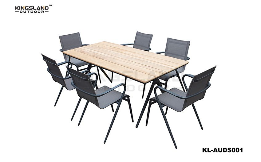Teak furniture aluminum dining table set with Mesh Fabric chairs