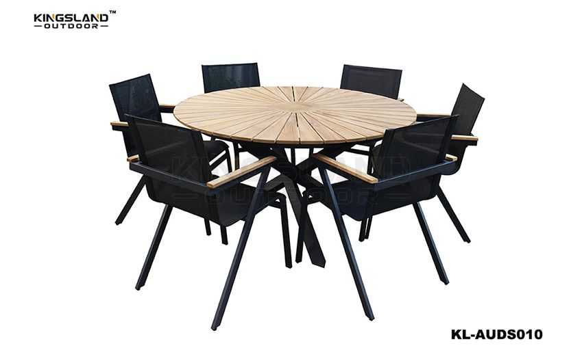 Teak furniture round dining table set with Texteline chair for 6 person