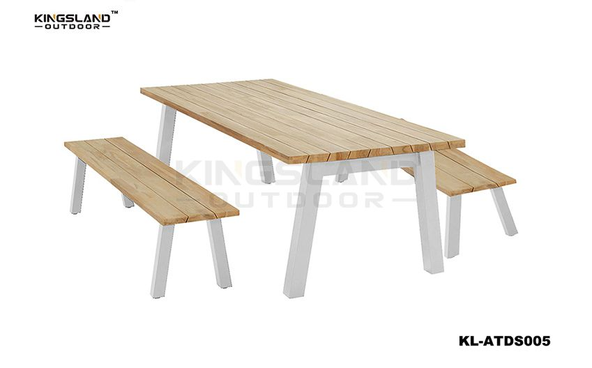 Teak furniture dining table set with long bench for 6 person, 3pcs set