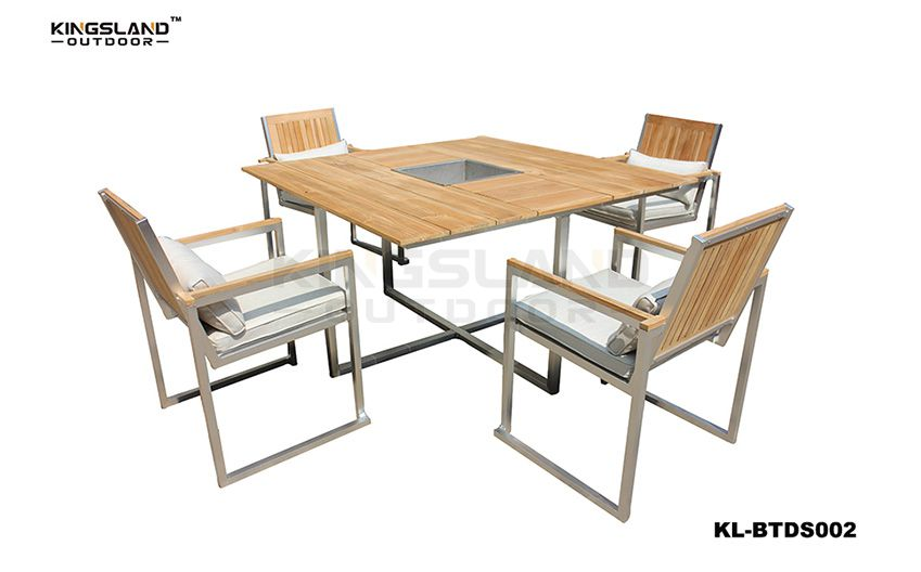 Brushed Aluminum frame Teak table top dining set with ice-bucket