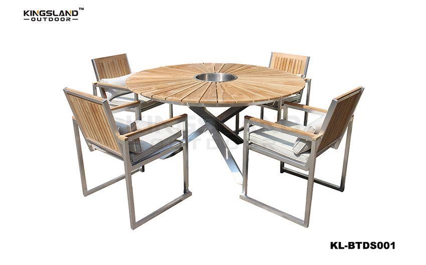 Brushed Aluminum frame Teak wood top round dining set with ice-bucket