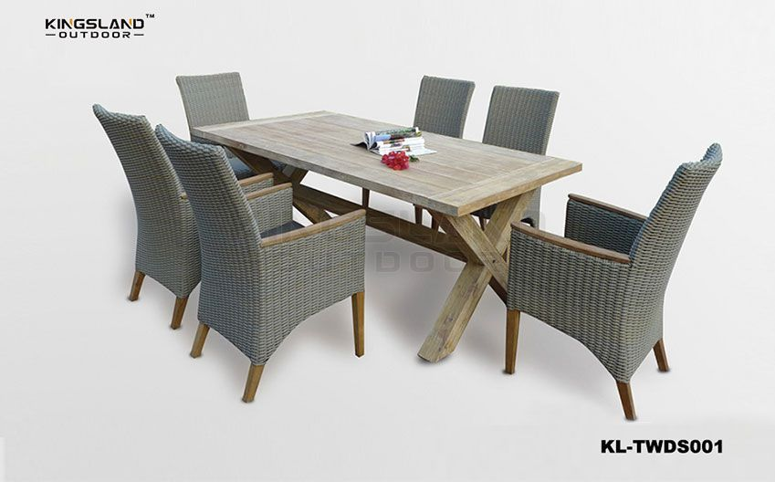 Teak furniture X-shaped leg dining table set with rattan woven chairs