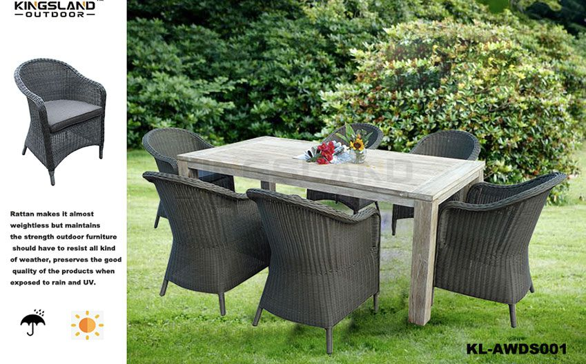 Teak furniture X shape leg dining table set with rattan woven chairs