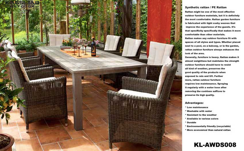 Teak furniture long dining table set with wicker woven stacking chairs