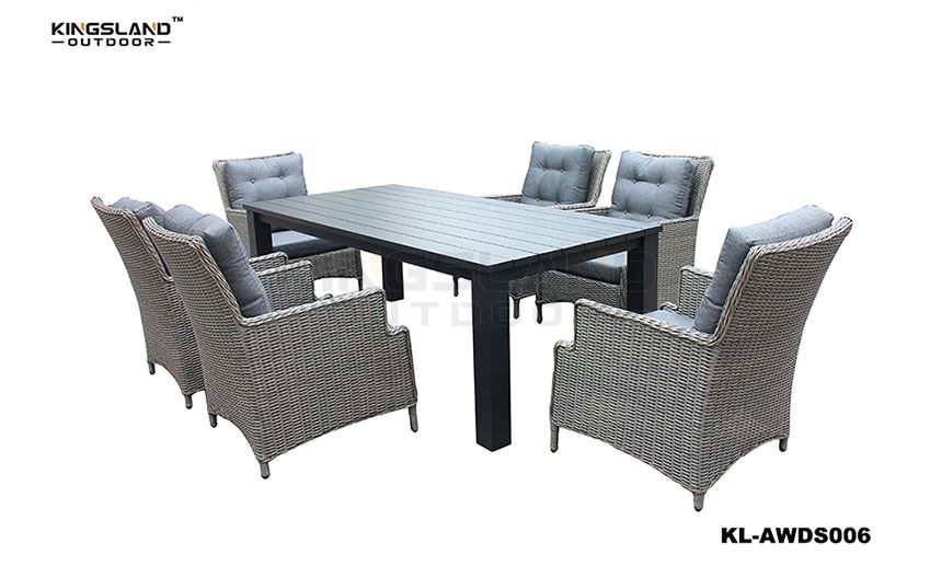 Full aluminum dining table with rattan woven chair set for 6-8 pepole
