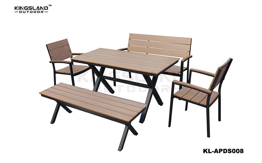 Aluminum frame polywood top X-shaped dining table set with bench