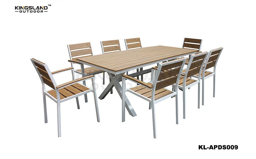 Aluminum  polywood top X-shaped dining table set with stacking chair