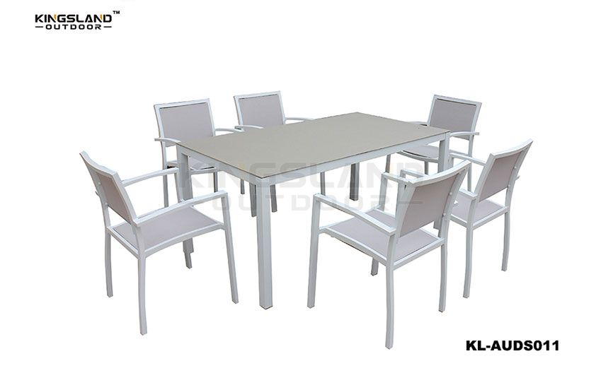 Aluminum Spray-stone table top dining set with Textilene chair 6 person