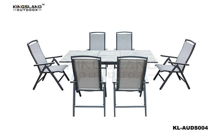 Aluminum HPL table top extending dining set with folding fabric chair