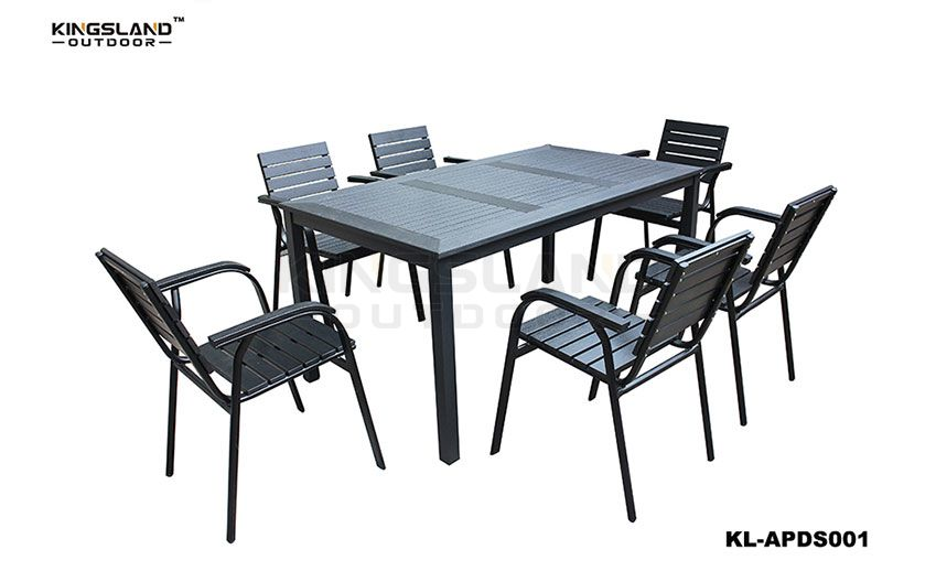 Aluminum  polywood dining table set with stacking chair for 6 person