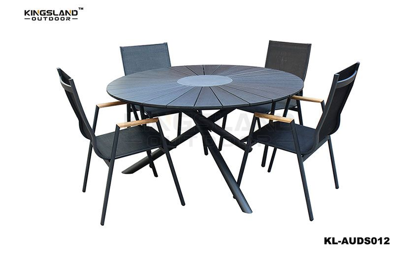 Aluminum  polywood dining table set with FSC armrest inserted chair