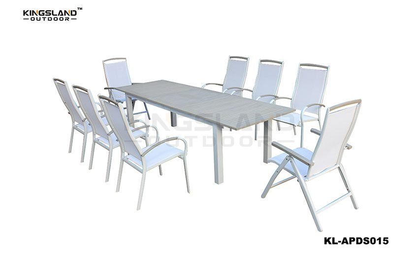 Aluminum  polywood furniture extenable dining table with foldable chair