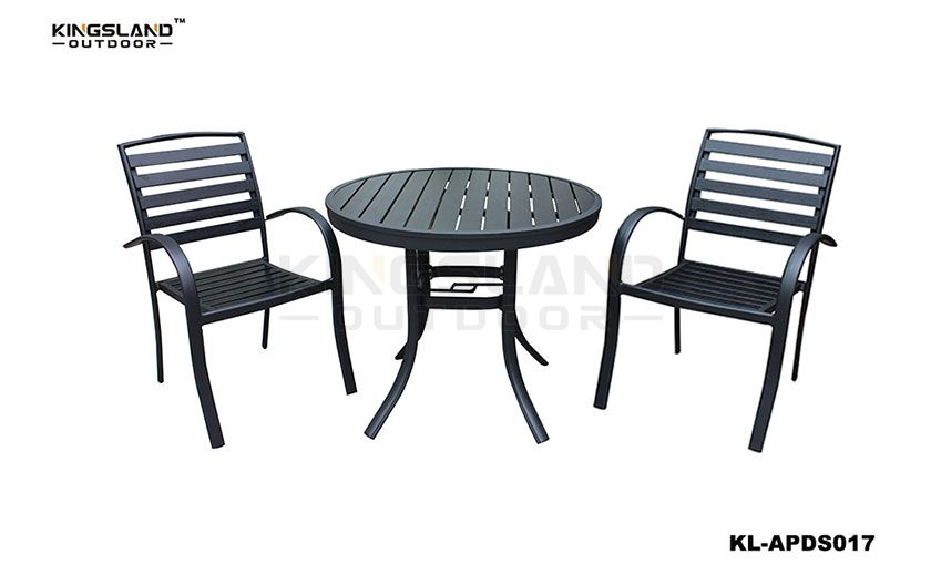 Aluminum  polywood bistro set round dining table with single chair