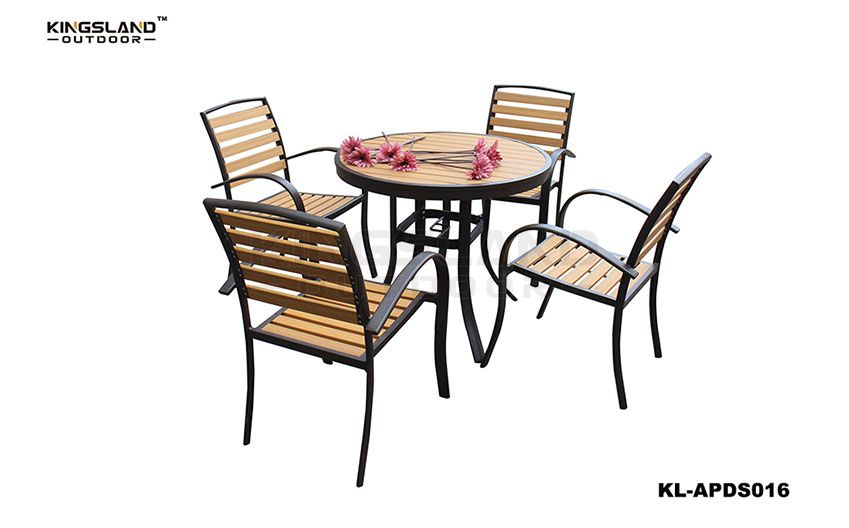 Aluminum  polywood bistro round dining set with armchair for 4 seat