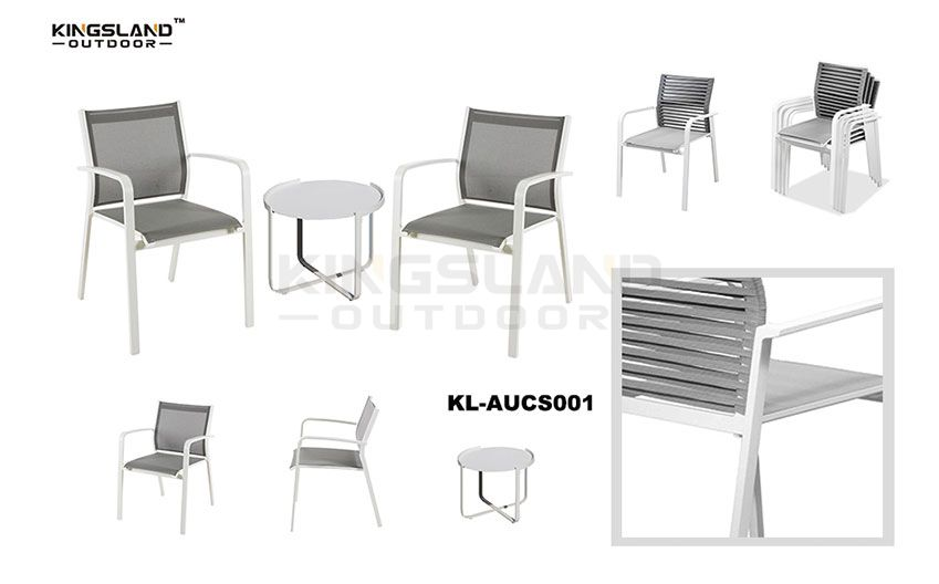 Aluminum frame bistro dining set with textilene  rope chair for 2 people