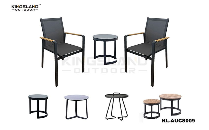 Aluminum frame bistro set with coffee table  textilene stacking chair