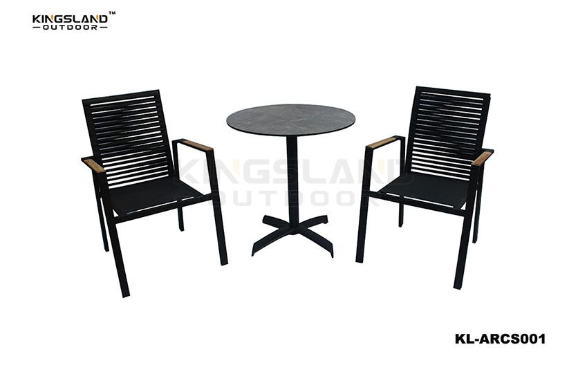 Aluminum frame bistro dining set with rope weaving chair for 2 people