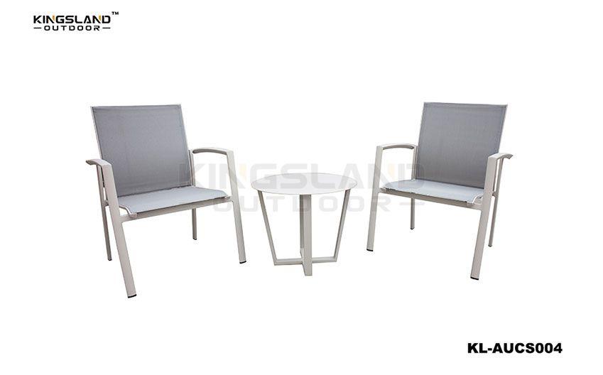 Aluminum  Textilene bistro set single sofa chair with coffee table