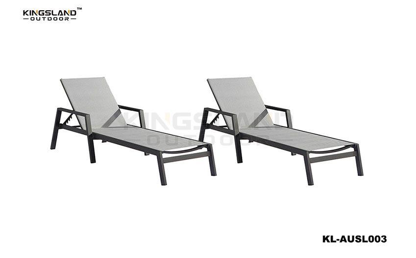 Aluminum frame Textilene sun lounger with adjustable back rest