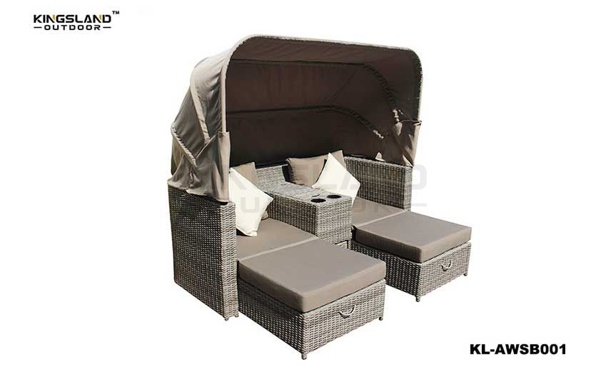 Aluminum frame rattan weaving 2 seater daybed lounge with canopy