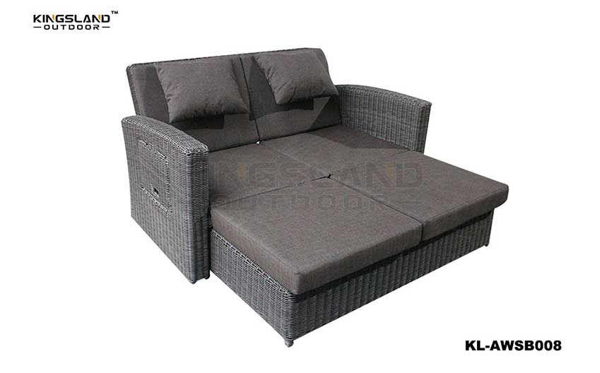 Aluminum & rattan woven reclining daybed double lounge with sidetable