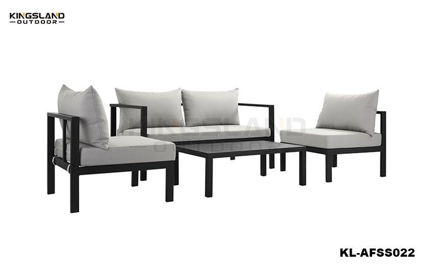 Aluminum Frame Lounge Corner Set for 4 Person, 4pcs Set